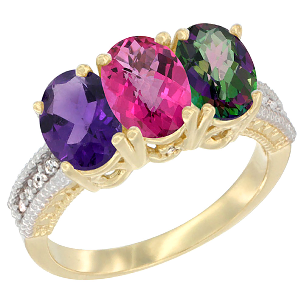 14K Yellow Gold Natural Amethyst, Pink Topaz & Mystic Topaz Ring 3-Stone 7x5 mm Oval Diamond Accent, sizes 5 - 10