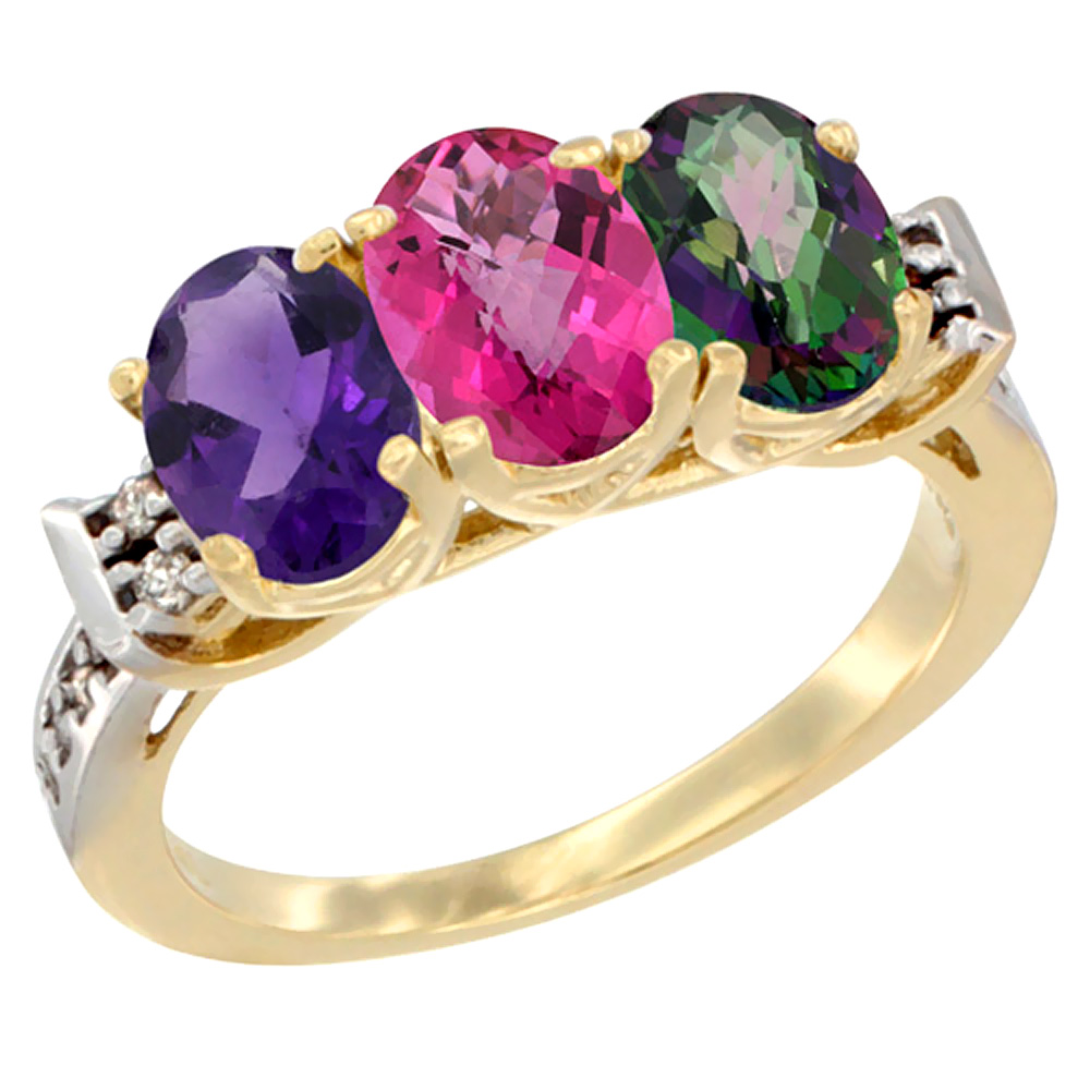 10K Yellow Gold Natural Amethyst, Pink Topaz & Mystic Topaz Ring 3-Stone Oval 7x5 mm Diamond Accent, sizes 5 - 10