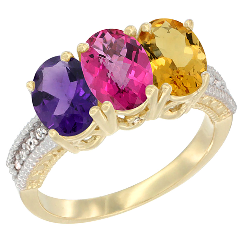 14K Yellow Gold Natural Amethyst, Pink Topaz & Citrine Ring 3-Stone 7x5 mm Oval Diamond Accent, sizes 5 - 10