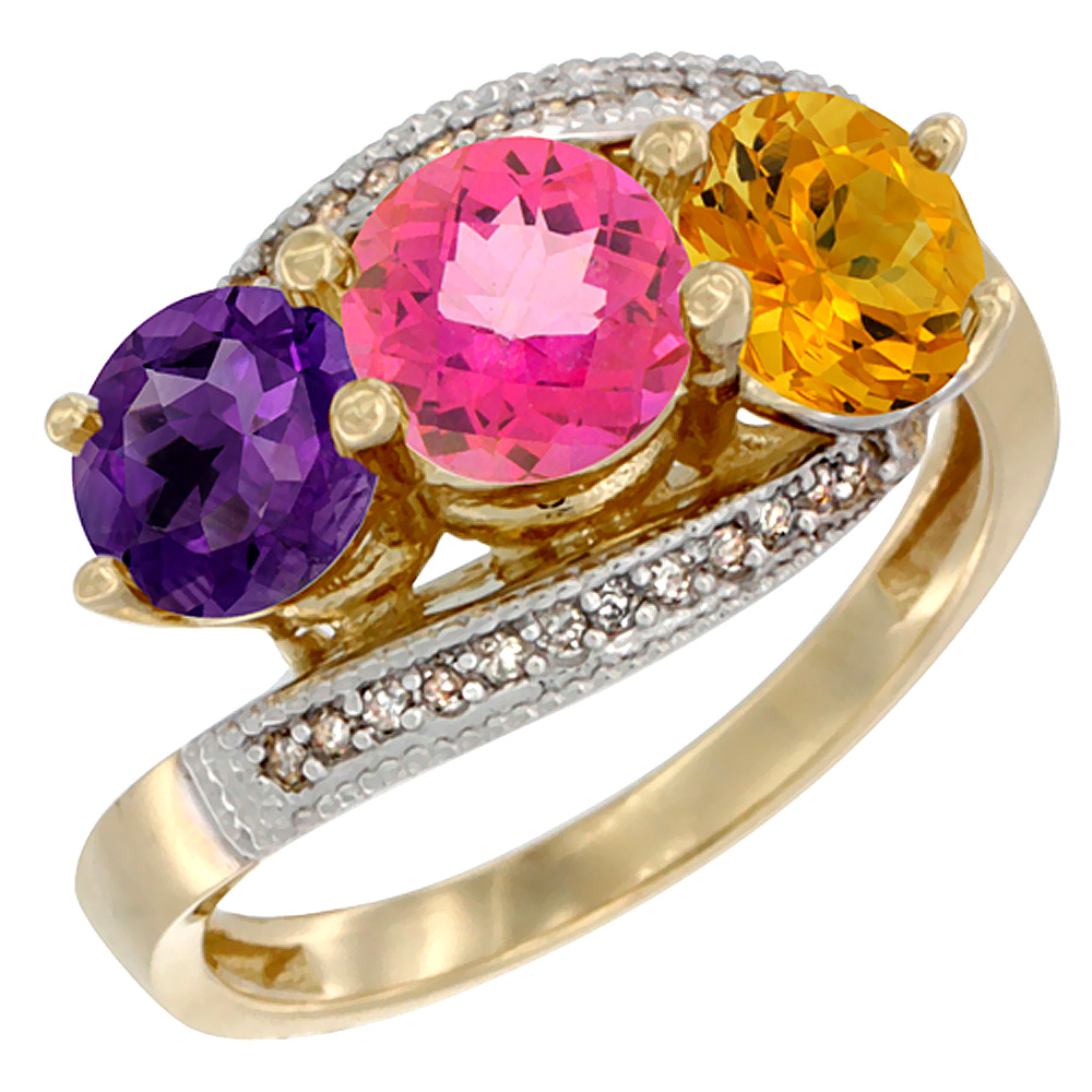 10K Yellow Gold Natural Amethyst, Pink Topaz & Citrine 3 stone Ring Round 6mm Diamond Accent, sizes 5 - 10