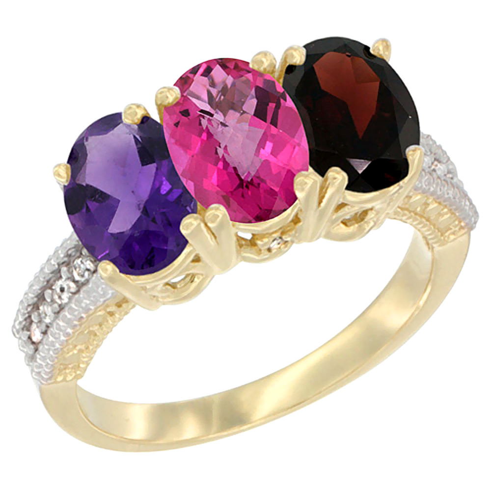 10K Yellow Gold Diamond Natural Amethyst, Pink Topaz & Garnet Ring Oval 3-Stone 7x5 mm,sizes 5-10