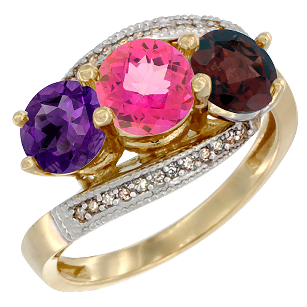 10K Yellow Gold Natural Amethyst, Pink Topaz & Garnet 3 stone Ring Round 6mm Diamond Accent, sizes 5 - 10