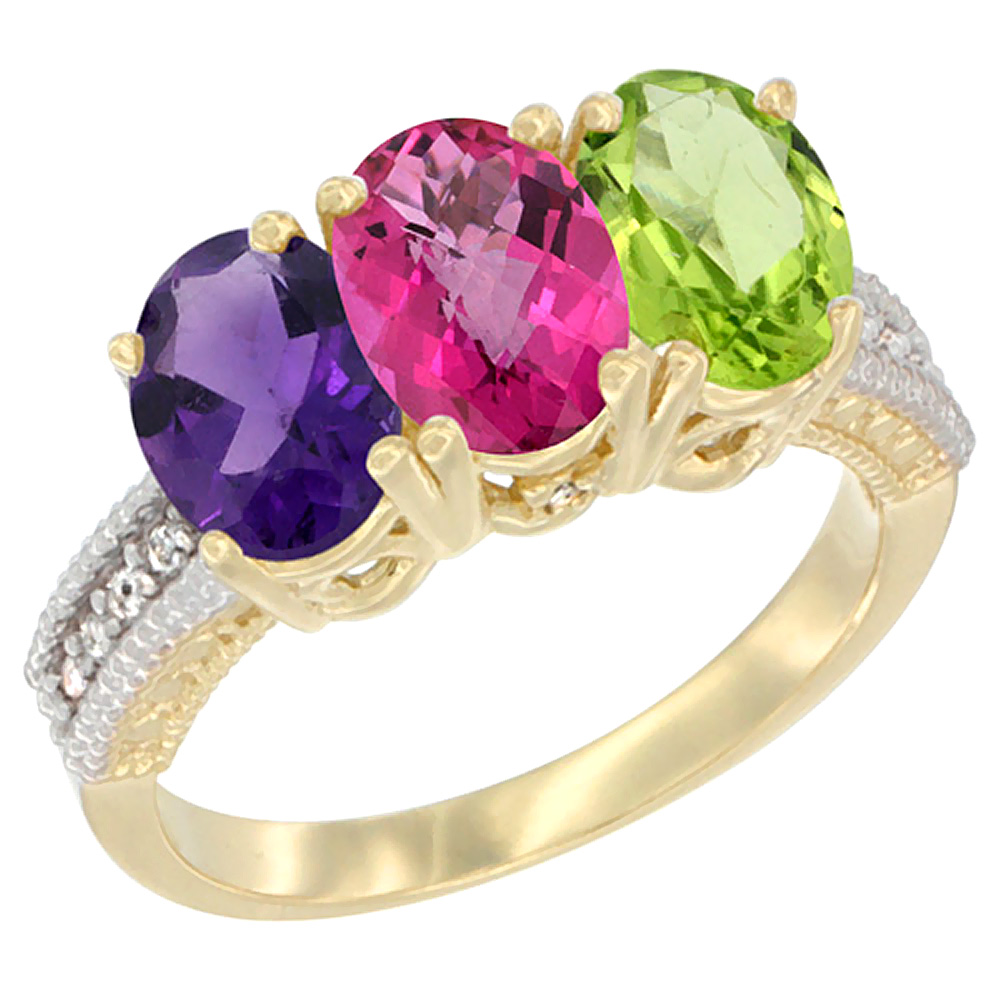 14K Yellow Gold Natural Amethyst, Pink Topaz & Peridot Ring 3-Stone 7x5 mm Oval Diamond Accent, sizes 5 - 10