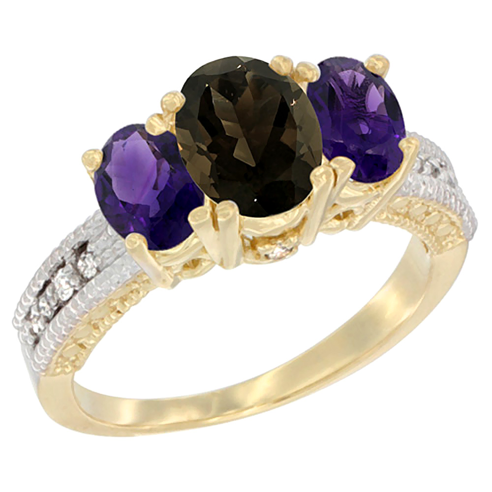 10K Yellow Gold Ladies Oval Natural Smoky Topaz Ring 3-stone with Amethyst Sides Diamond Accent