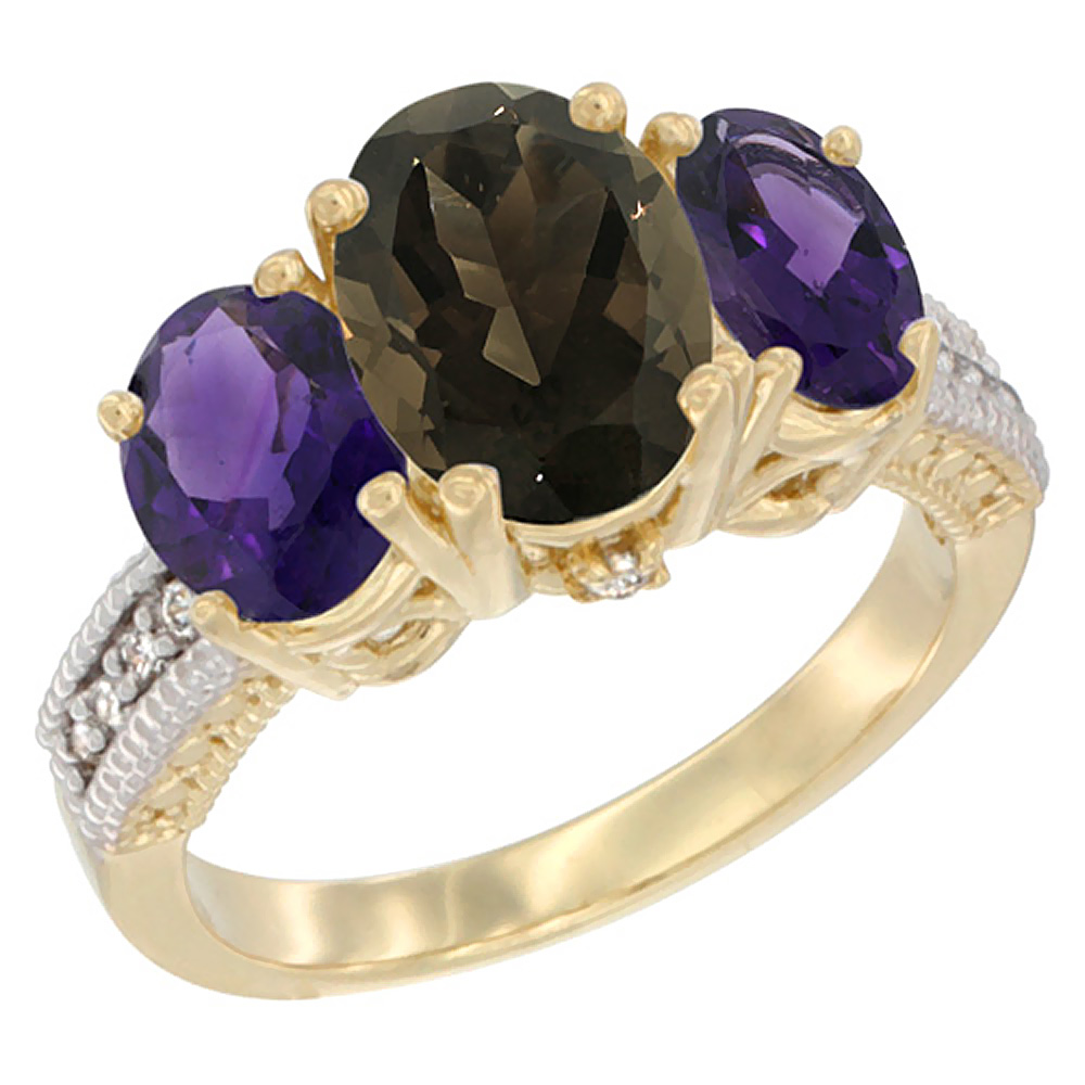 10K Yellow Gold Natural Smoky Topaz Ring Ladies 3-Stone Oval 8x6mm with Amethyst Sides Diamond Accent, sizes 5 - 10