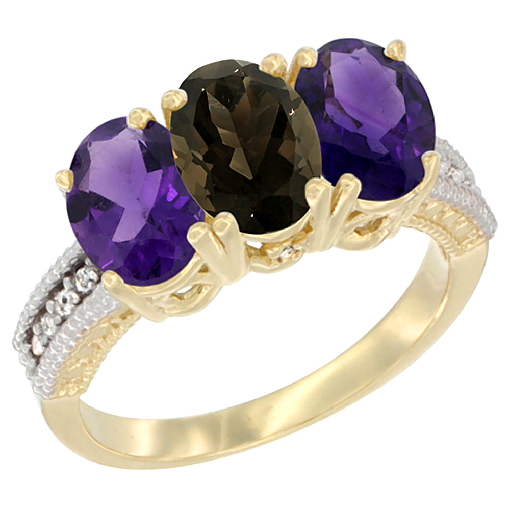 14K Yellow Gold Natural Smoky Topaz & Amethyst Ring 3-Stone 7x5 mm Oval Diamond Accent, sizes 5 - 10