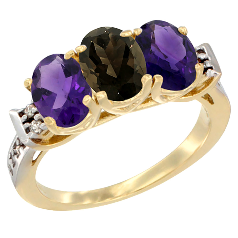 10K Yellow Gold Natural Smoky Topaz & Amethyst Sides Ring 3-Stone Oval 7x5 mm Diamond Accent, sizes 5 - 10