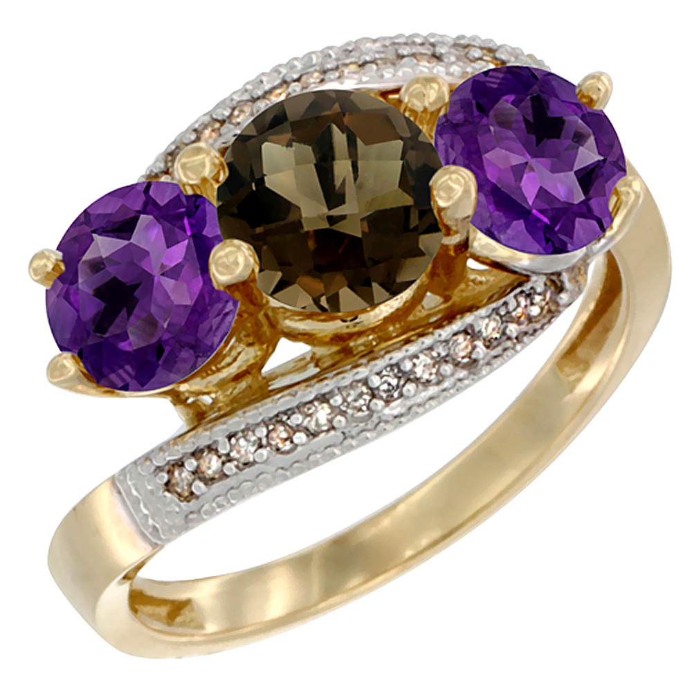 14K Yellow Gold Natural Smoky Topaz & Amethyst Sides 3 stone Ring Round 6mm Diamond Accent, sizes 5 - 10
