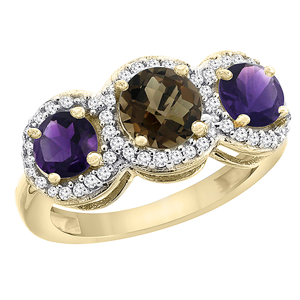 14K Yellow Gold Natural Smoky Topaz & Amethyst Sides Round 3-stone Ring Diamond Accents, sizes 5 - 10