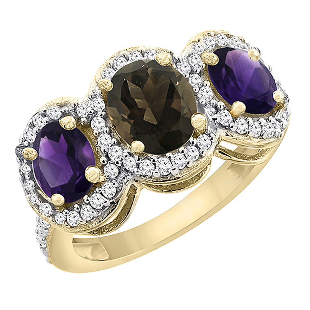 10K Yellow Gold Natural Smoky Topaz & Amethyst 3-Stone Ring Oval Diamond Accent, sizes 5 - 10