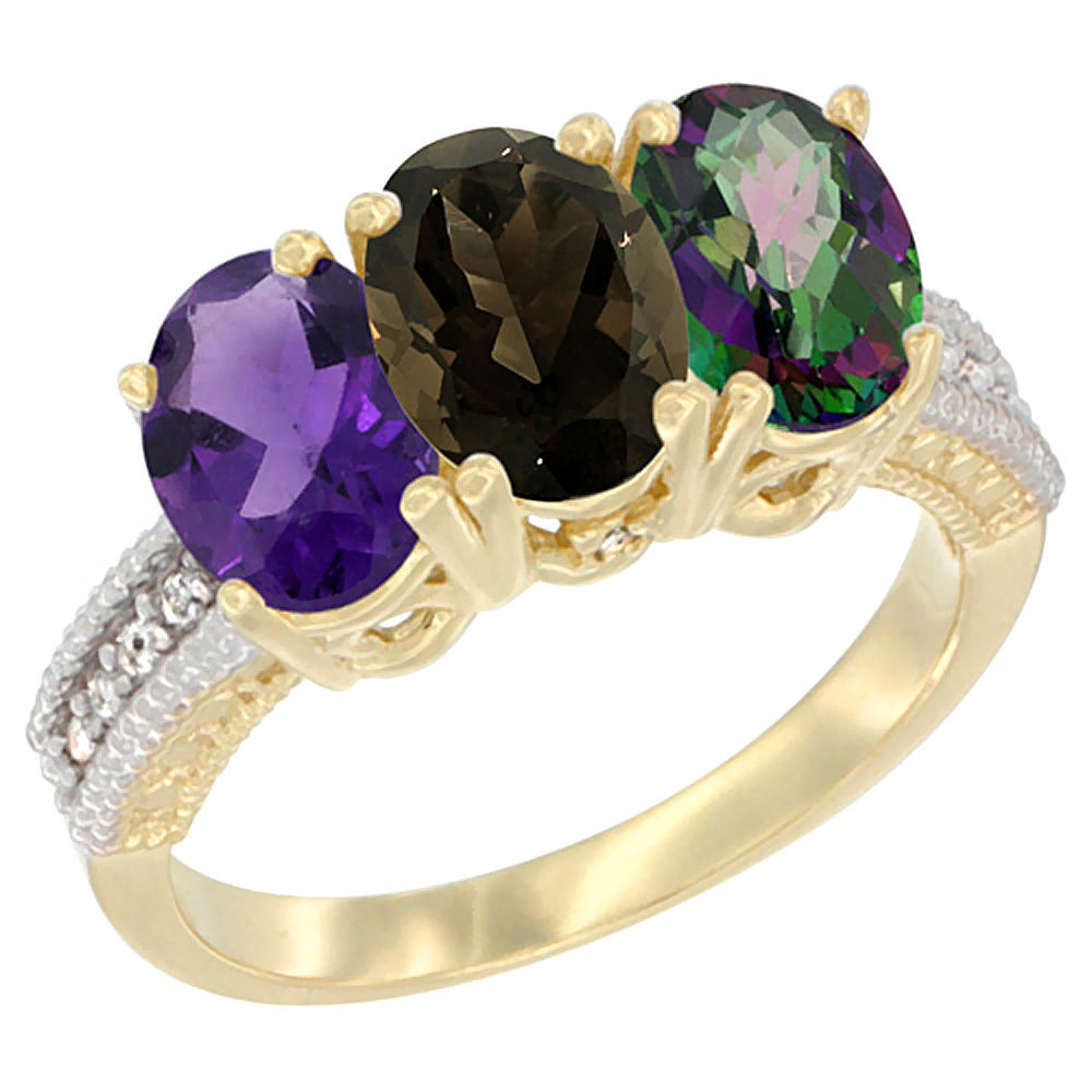 14K Yellow Gold Natural Amethyst, Smoky Topaz & Mystic Topaz Ring 3-Stone 7x5 mm Oval Diamond Accent, sizes 5 - 10