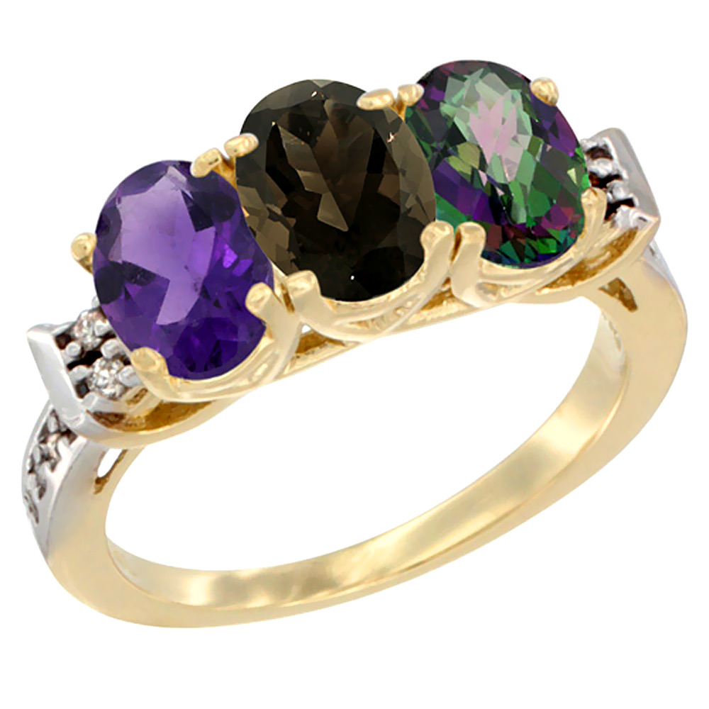10K Yellow Gold Natural Amethyst, Smoky Topaz & Mystic Topaz Ring 3-Stone Oval 7x5 mm Diamond Accent, sizes 5 - 10