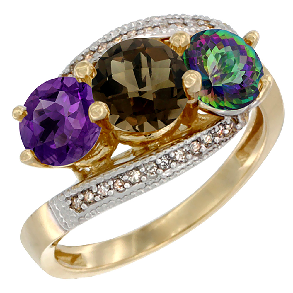 14K Yellow Gold Natural Amethyst, Smoky & Mystic Topaz 3 stone Ring Round 6mm Diamond Accent, sizes 5 - 10