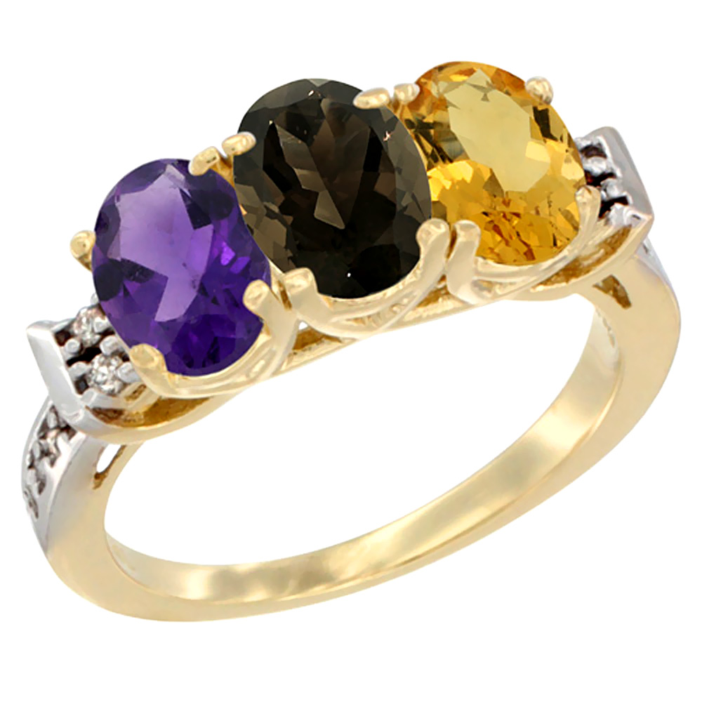 14K Yellow Gold Natural Amethyst, Smoky Topaz & Citrine Ring 3-Stone 7x5 mm Oval Diamond Accent, sizes 5 - 10