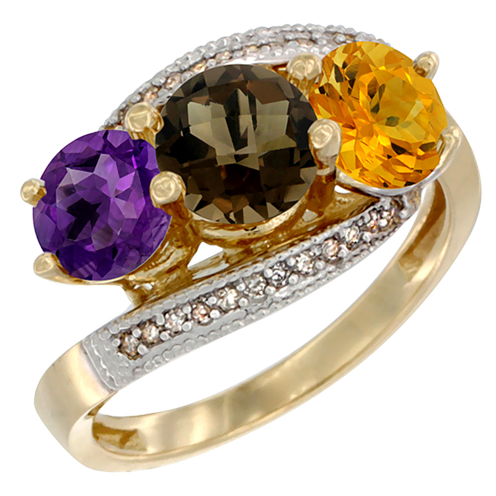 14K Yellow Gold Natural Amethyst, Smoky Topaz & Citrine 3 stone Ring Round 6mm Diamond Accent, sizes 5 - 10