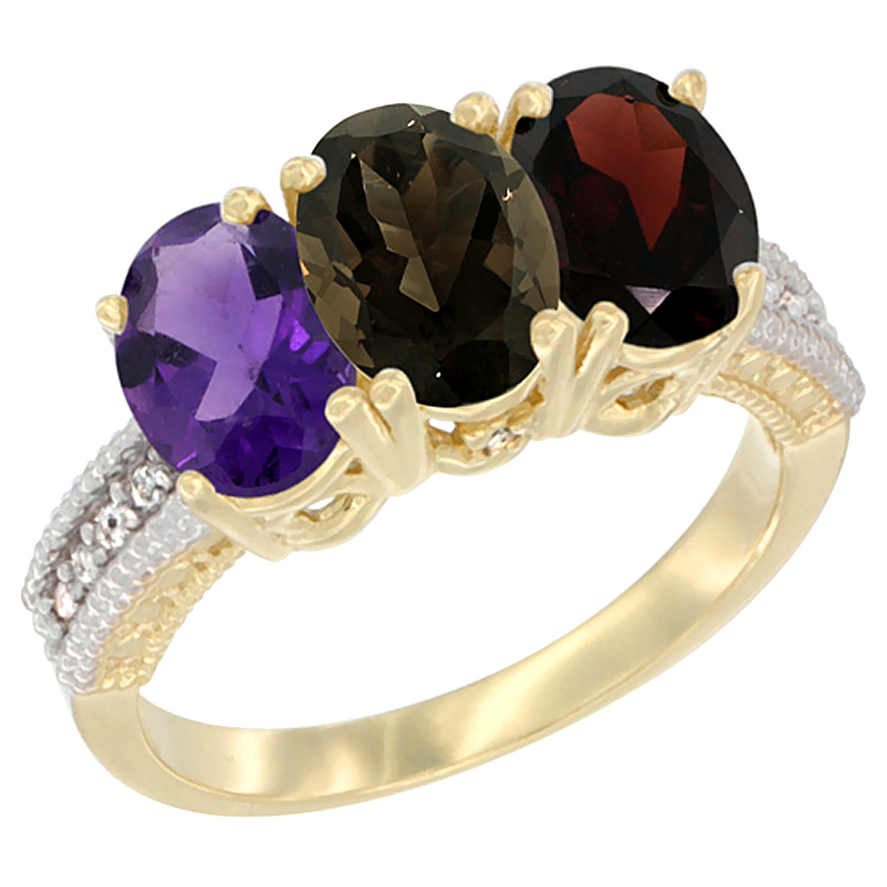 10K Yellow Gold Diamond Natural Amethyst, Smoky Topaz & Garnet Ring Oval 3-Stone 7x5 mm,sizes 5-10