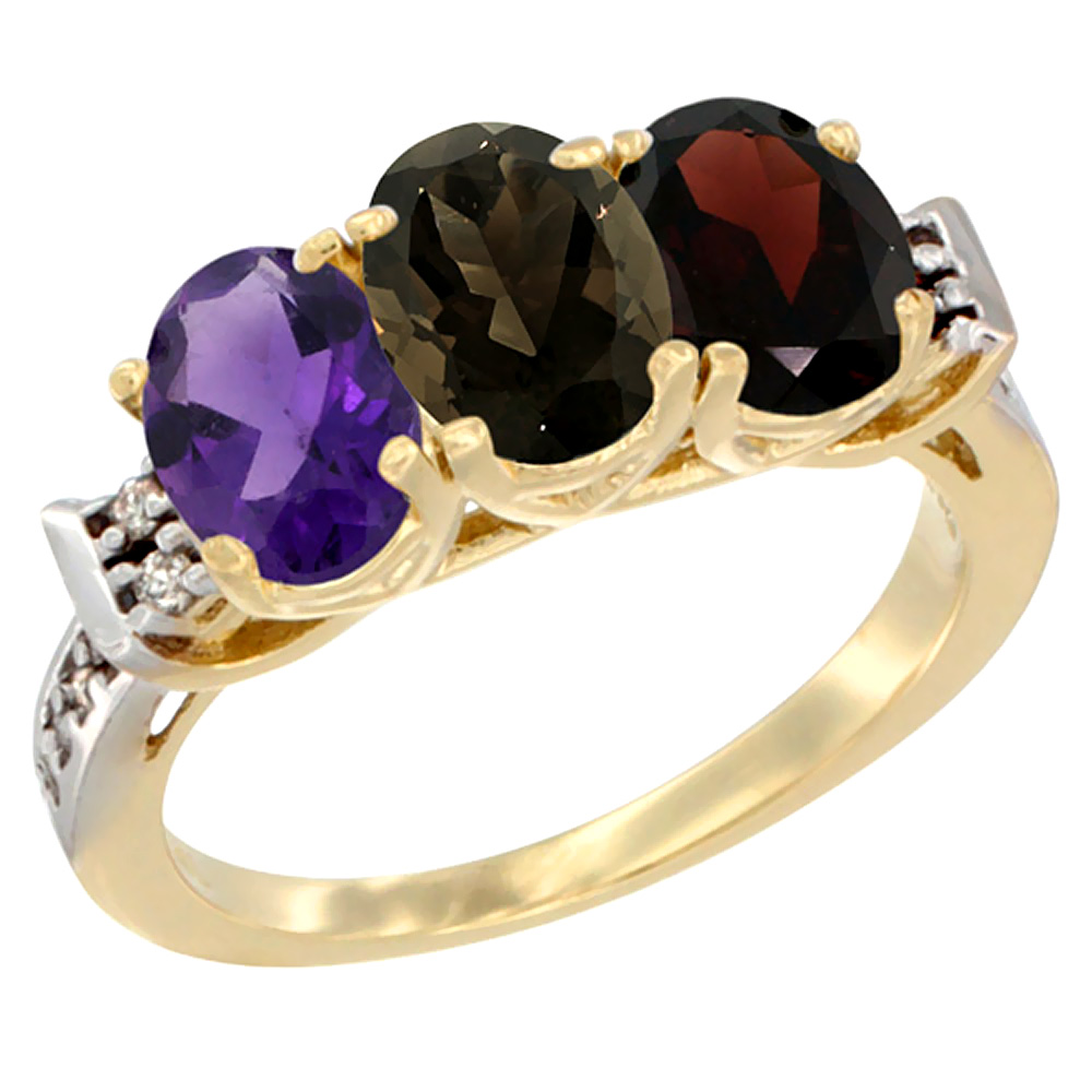 10K Yellow Gold Natural Amethyst, Smoky Topaz & Garnet Ring 3-Stone Oval 7x5 mm Diamond Accent, sizes 5 - 10
