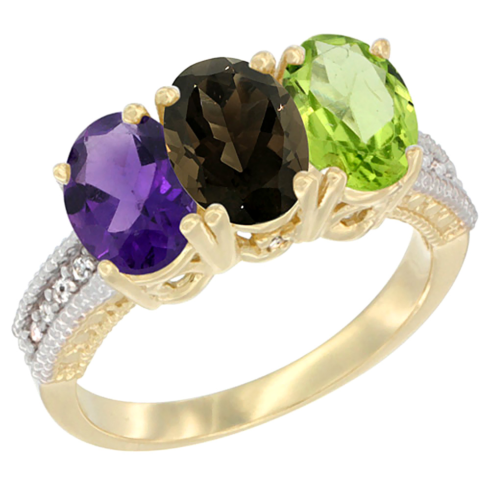 10K Yellow Gold Diamond Natural Amethyst, Smoky Topaz & Peridot Ring Oval 3-Stone 7x5 mm,sizes 5-10