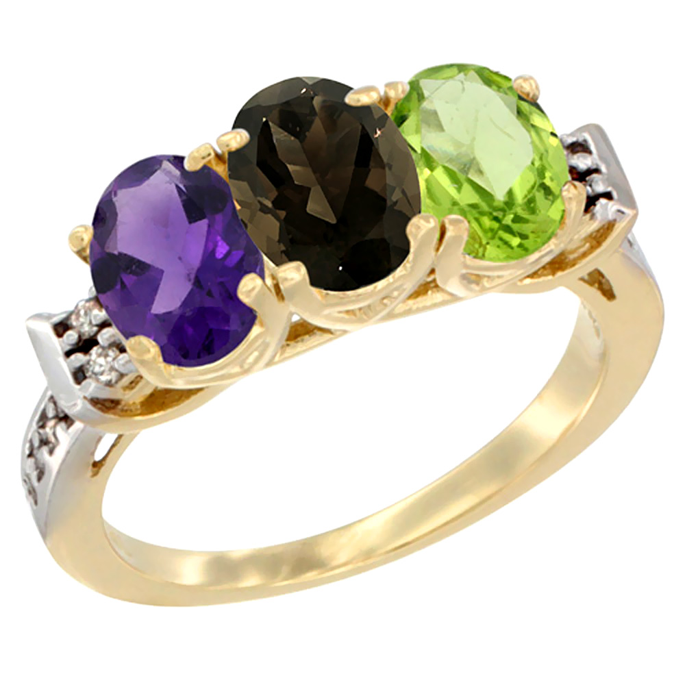 10K Yellow Gold Natural Amethyst, Smoky Topaz & Peridot Ring 3-Stone Oval 7x5 mm Diamond Accent, sizes 5 - 10
