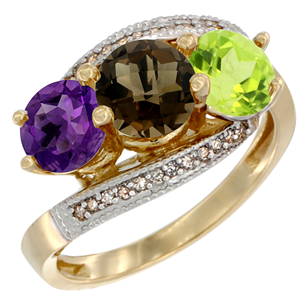 10K Yellow Gold Natural Amethyst, Smoky Topaz & Peridot 3 stone Ring Round 6mm Diamond Accent, sizes 5 - 10