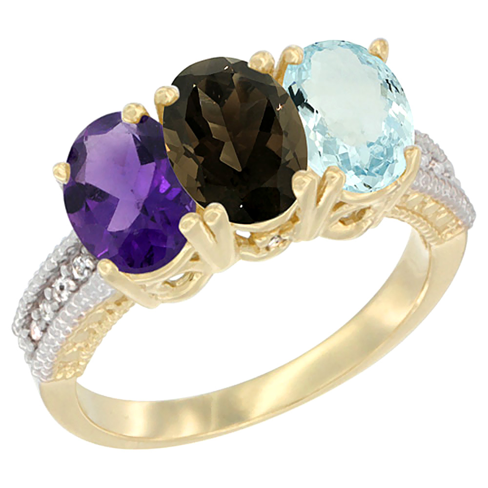 14K Yellow Gold Natural Amethyst, Smoky Topaz & Aquamarine Ring 3-Stone 7x5 mm Oval Diamond Accent, sizes 5 - 10