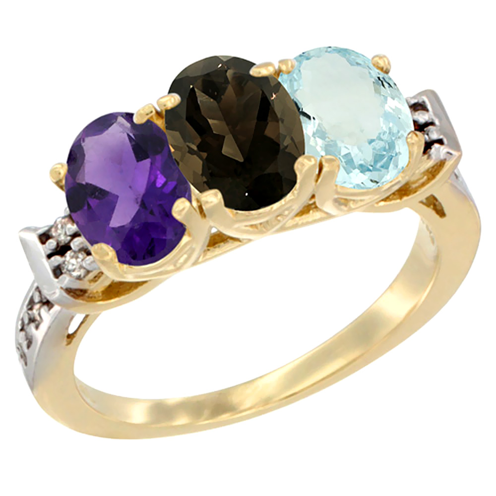 10K Yellow Gold Natural Amethyst, Smoky Topaz & Aquamarine Ring 3-Stone Oval 7x5 mm Diamond Accent, sizes 5 - 10