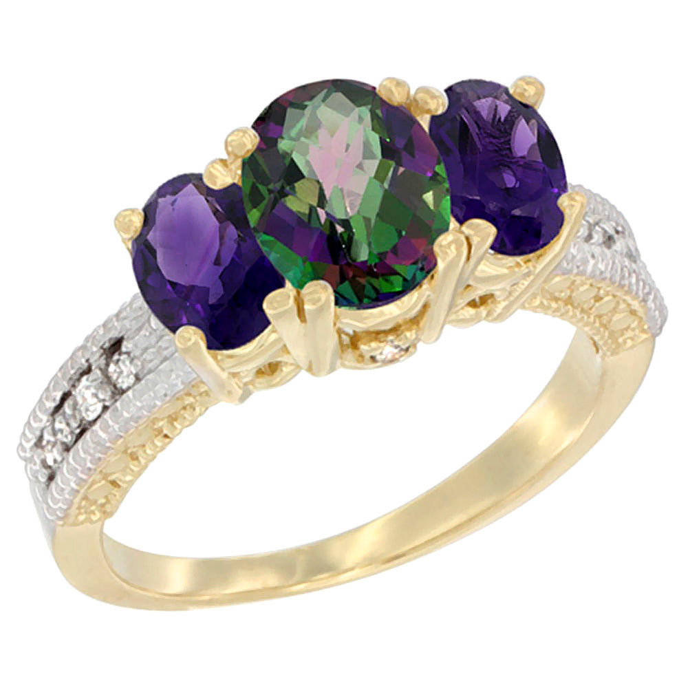 10K Yellow Gold Ladies Oval Natural Mystic Topaz Ring 3-stone with Amethyst Sides Diamond Accent