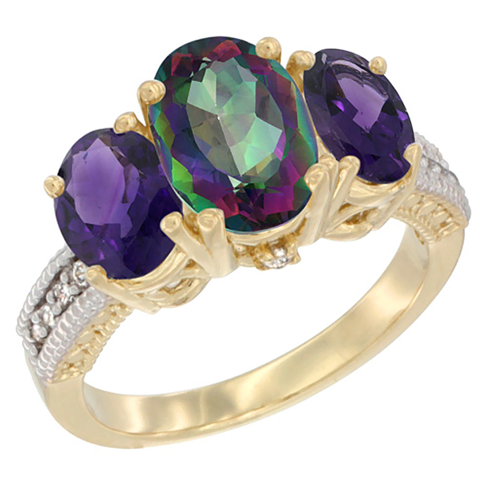 10K Yellow Gold Natural Mystic Topaz Ring Ladies 3-Stone Oval 8x6mm with Amethyst Sides Diamond Accent, sizes 5 - 10