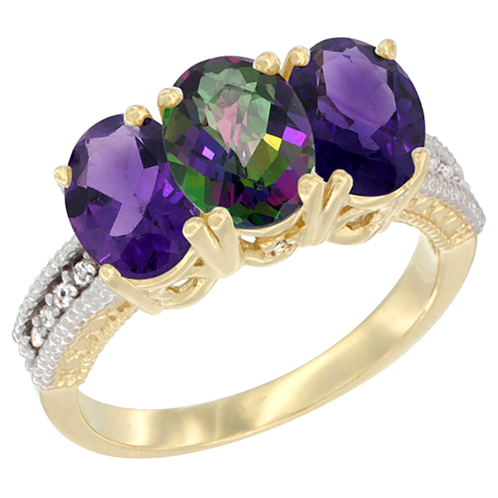 14K Yellow Gold Natural Mystic Topaz & Amethyst Ring 3-Stone 7x5 mm Oval Diamond Accent, sizes 5 - 10
