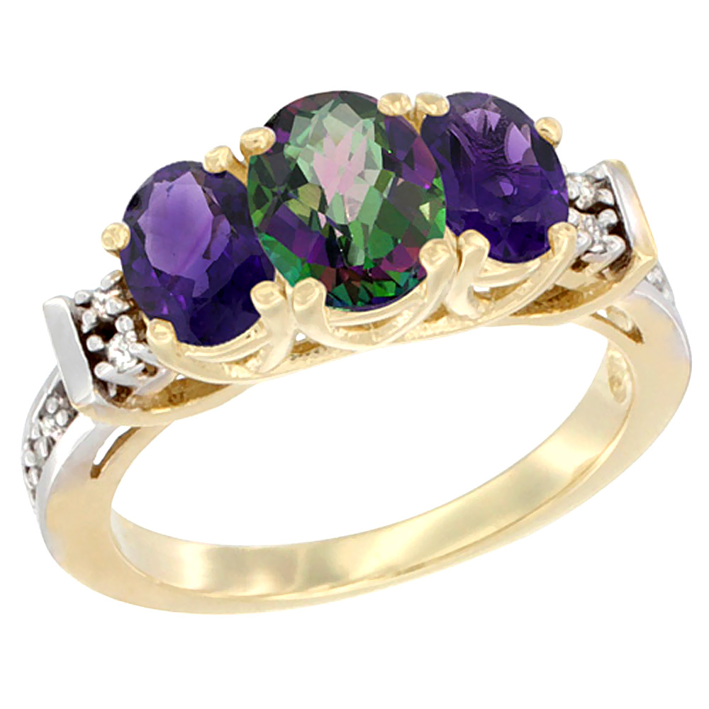14K Yellow Gold Natural Mystic Topaz & Amethyst Ring 3-Stone Oval Diamond Accent