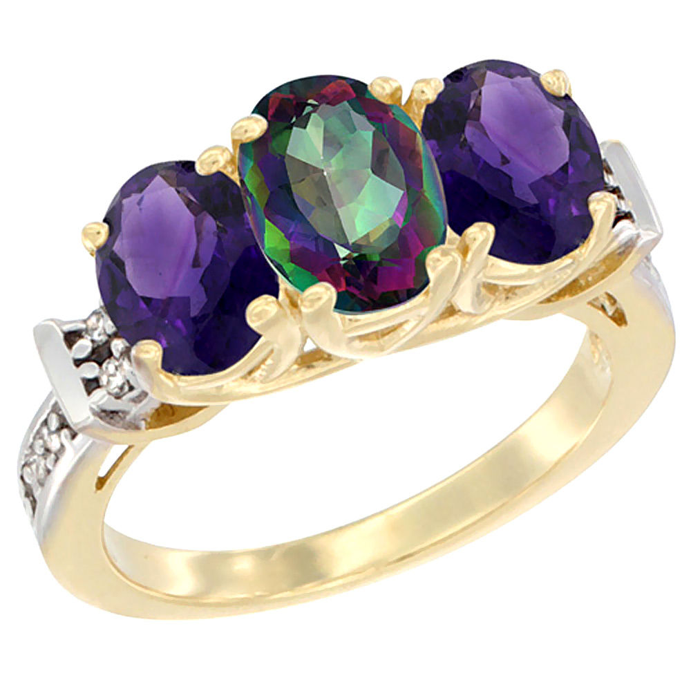 14K Yellow Gold Natural Mystic Topaz & Amethyst Sides Ring 3-Stone Oval Diamond Accent, sizes 5 - 10