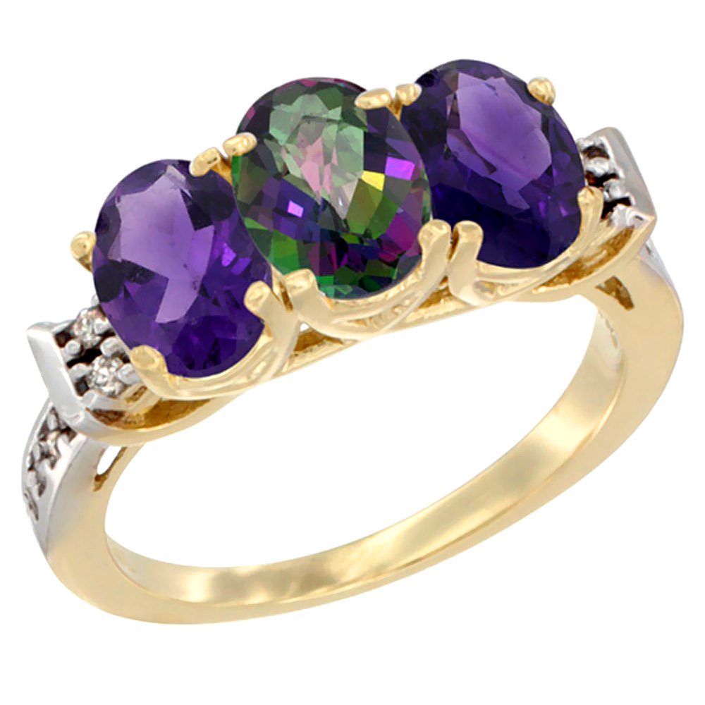 10K Yellow Gold Natural Mystic Topaz & Amethyst Sides Ring 3-Stone Oval 7x5 mm Diamond Accent, sizes 5 - 10