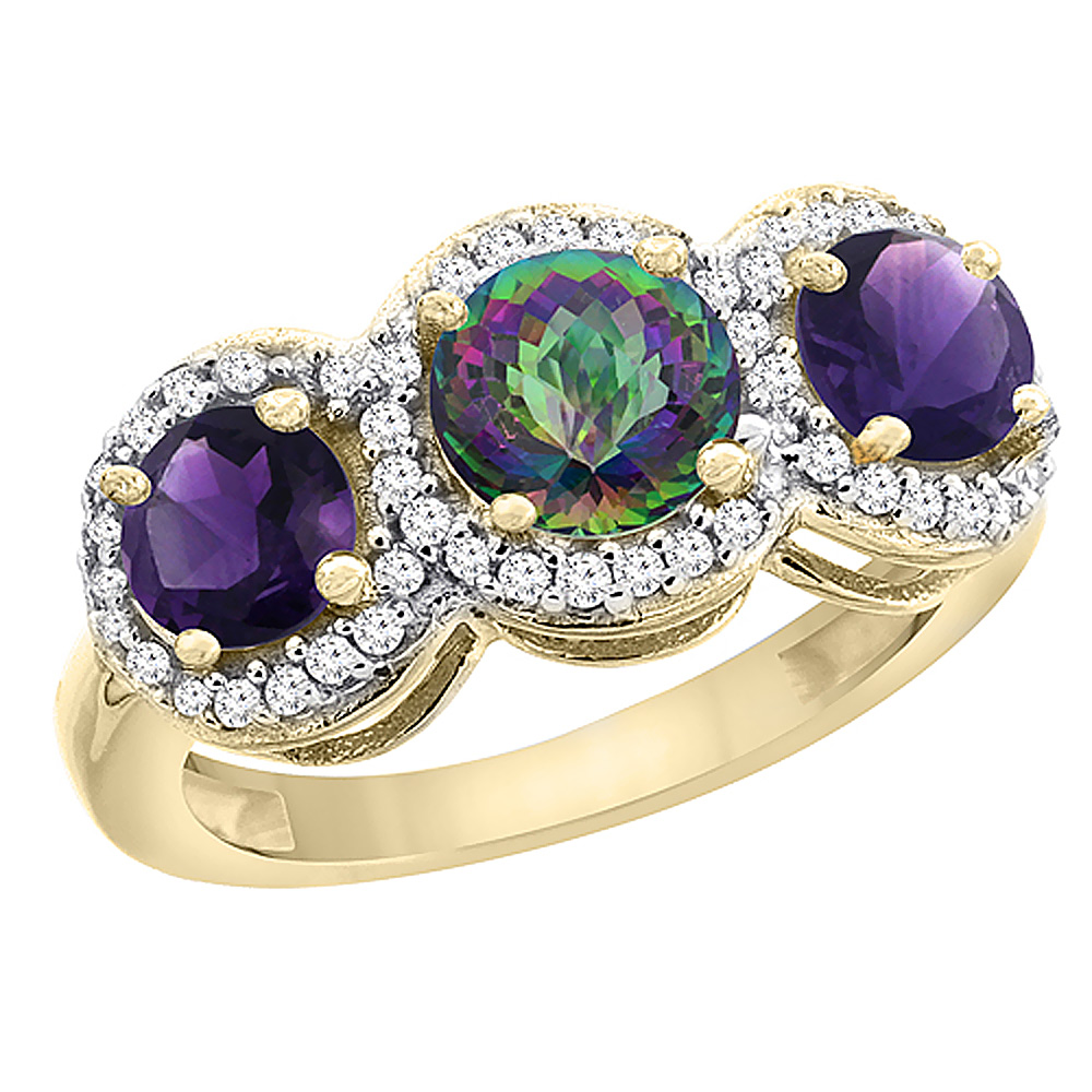 14K Yellow Gold Natural Mystic Topaz & Amethyst Sides Round 3-stone Ring Diamond Accents, sizes 5 - 10