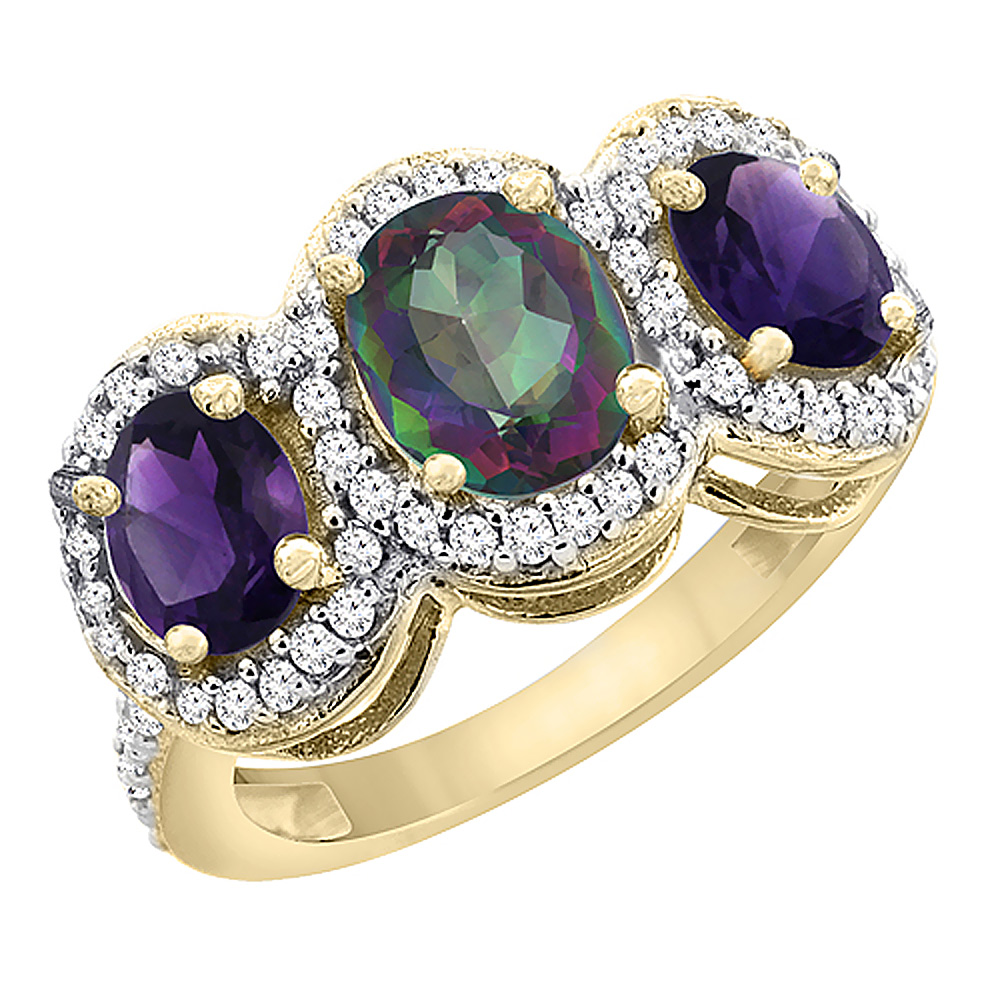 14K Yellow Gold Natural Mystic Topaz & Amethyst 3-Stone Ring Oval Diamond Accent, sizes 5 - 10
