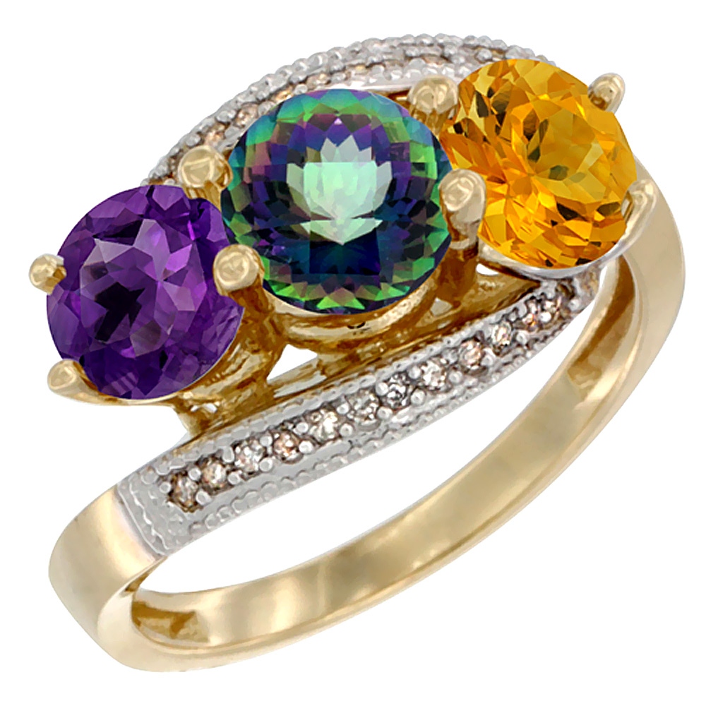 14K Yellow Gold Natural Amethyst, Mystic Topaz & Citrine 3 stone Ring Round 6mm Diamond Accent, sizes 5 - 10
