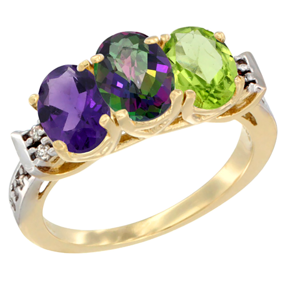 14K Yellow Gold Natural Amethyst, Mystic Topaz & Peridot Ring 3-Stone 7x5 mm Oval Diamond Accent, sizes 5 - 10