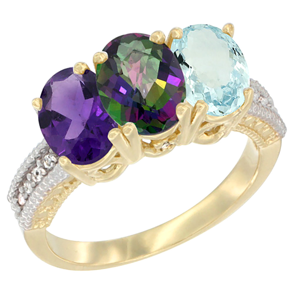 10K Yellow Gold Diamond Natural Amethyst, Mystic Topaz & Aquamarine Ring Oval 3-Stone 7x5 mm,sizes 5-10