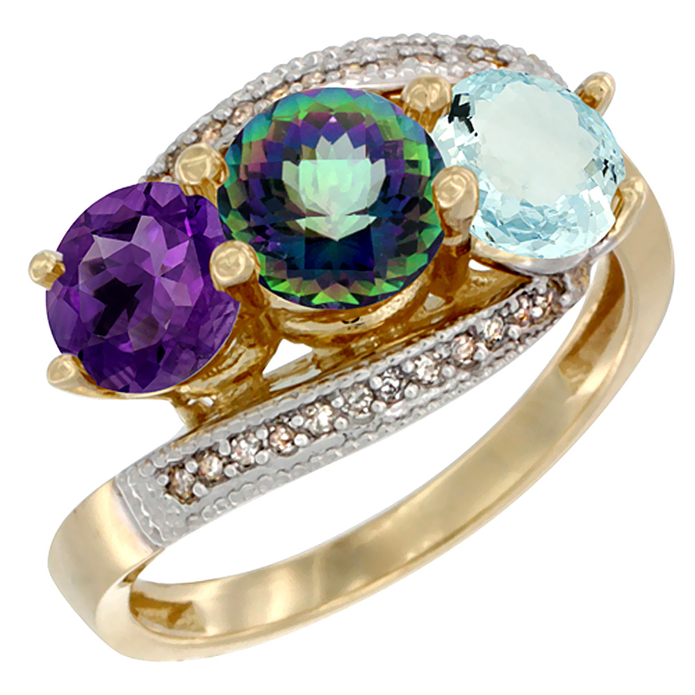 10K Yellow Gold Natural Amethyst, Mystic Topaz & Aquamarine 3 stone Ring Round 6mm Diamond Accent, sizes 5 - 10