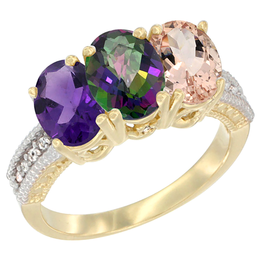 14K Yellow Gold Natural Amethyst, Mystic Topaz & Morganite Ring 3-Stone 7x5 mm Oval Diamond Accent, sizes 5 - 10