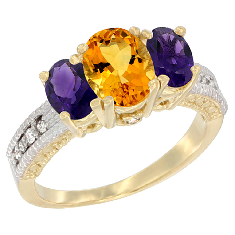 10K Yellow Gold Ladies Oval Natural Citrine Ring 3-stone with Amethyst Sides Diamond Accent