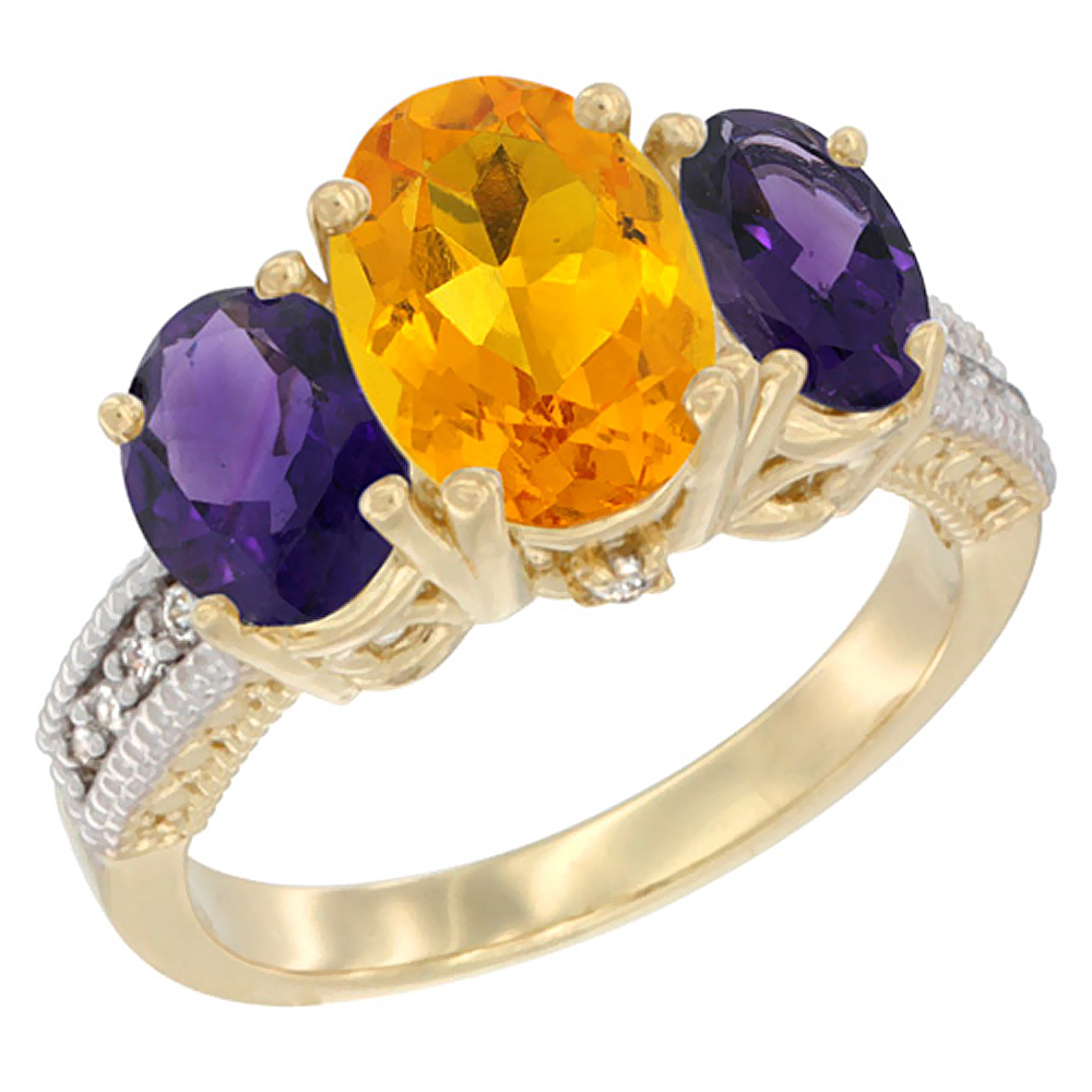 10K Yellow Gold Natural Citrine Ring Ladies 3-Stone Oval 8x6mm with Amethyst Sides Diamond Accent, sizes 5 - 10