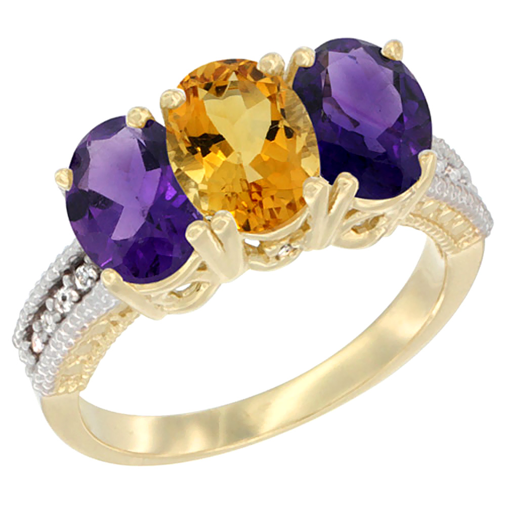 14K Yellow Gold Natural Citrine & Amethyst Ring 3-Stone 7x5 mm Oval Diamond Accent, sizes 5 - 10