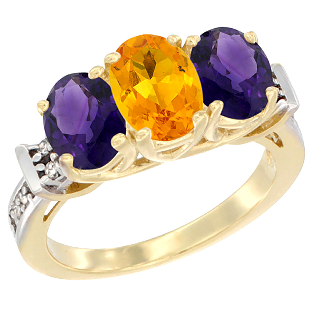 14K Yellow Gold Natural Citrine & Amethyst Sides Ring 3-Stone Oval Diamond Accent, sizes 5 - 10
