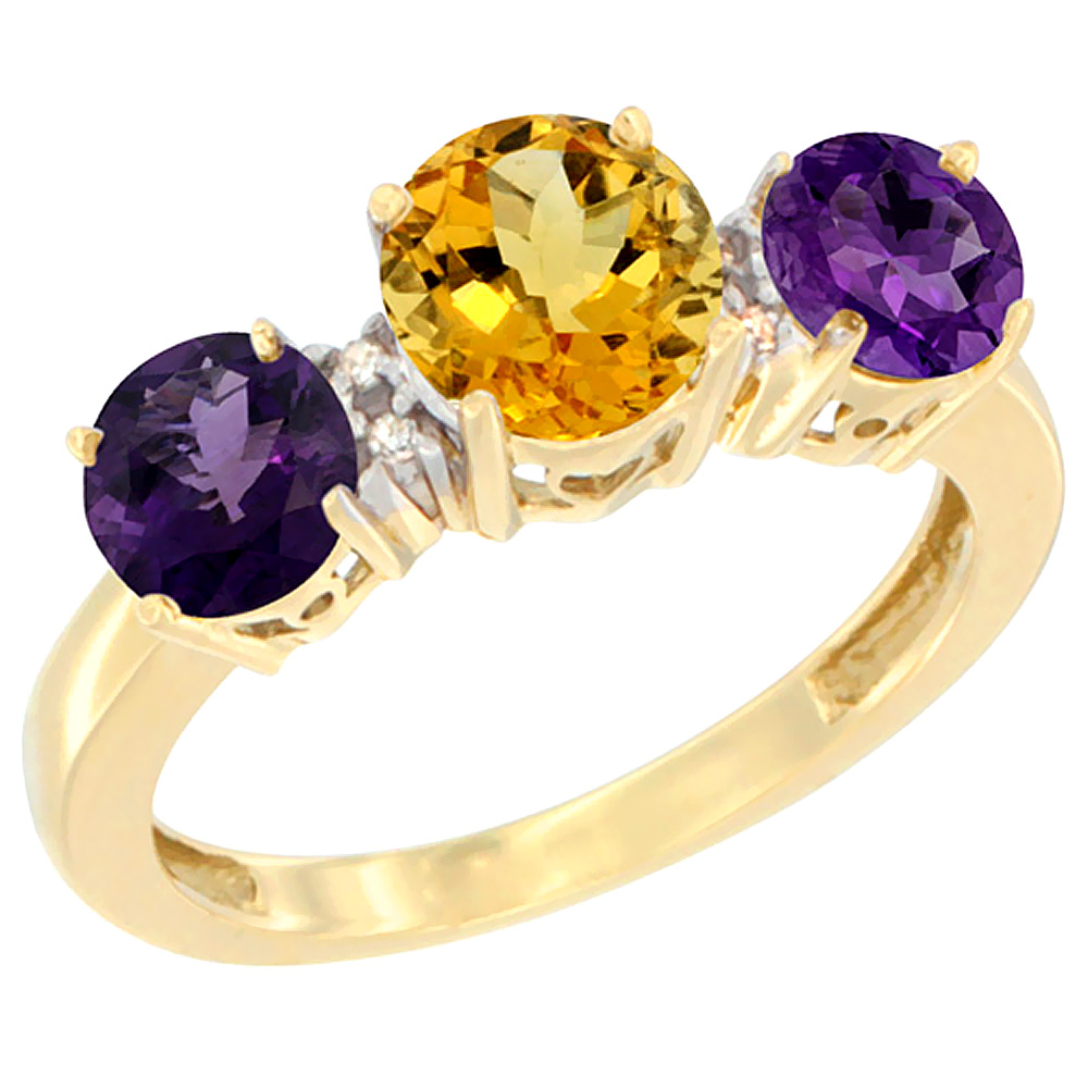 14K Yellow Gold Round 3-Stone Natural Citrine Ring & Amethyst Sides Diamond Accent, sizes 5 - 10