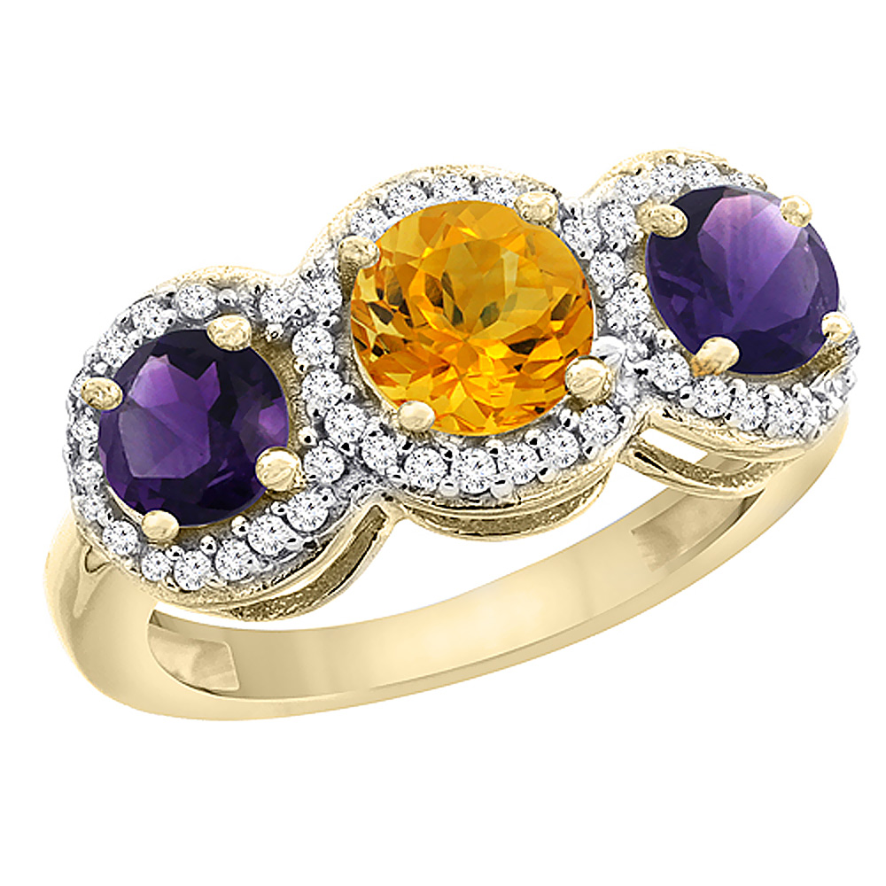 14K Yellow Gold Natural Citrine & Amethyst Sides Round 3-stone Ring Diamond Accents, sizes 5 - 10