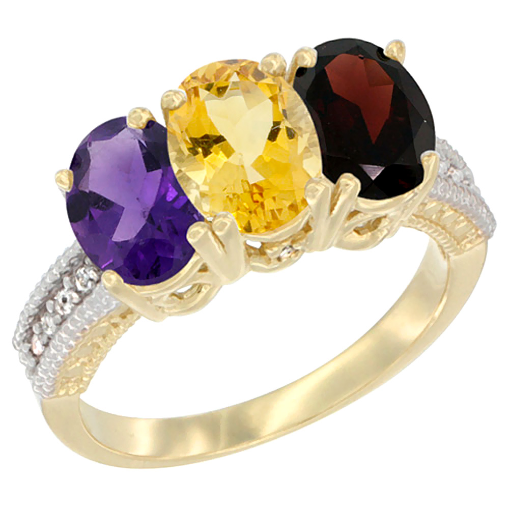 10K Yellow Gold Diamond Natural Amethyst, Citrine & Garnet Ring Oval 3-Stone 7x5 mm,sizes 5-10