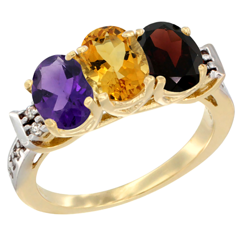 10K Yellow Gold Natural Amethyst, Citrine & Garnet Ring 3-Stone Oval 7x5 mm Diamond Accent, sizes 5 - 10