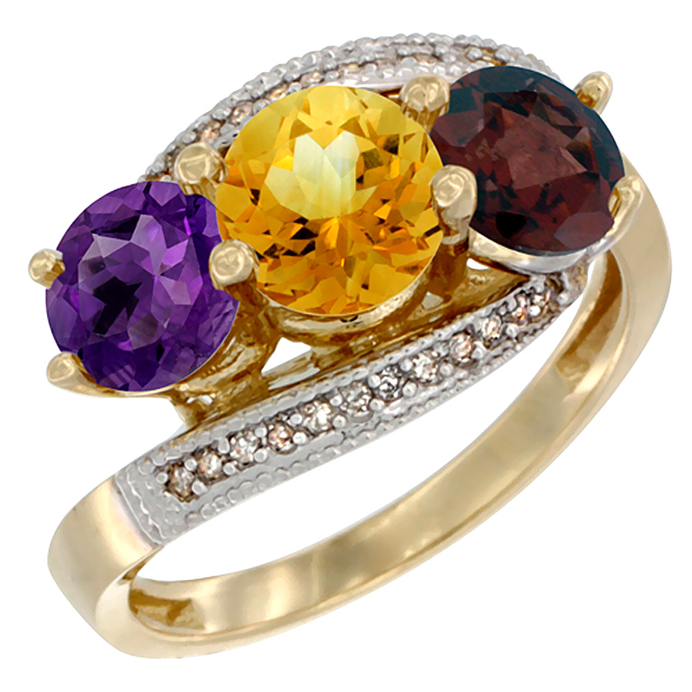 10K Yellow Gold Natural Amethyst, Citrine & Garnet 3 stone Ring Round 6mm Diamond Accent, sizes 5 - 10