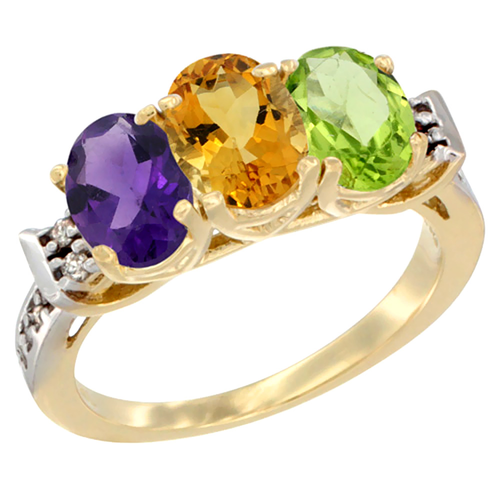 14K Yellow Gold Natural Amethyst, Citrine & Peridot Ring 3-Stone 7x5 mm Oval Diamond Accent, sizes 5 - 10