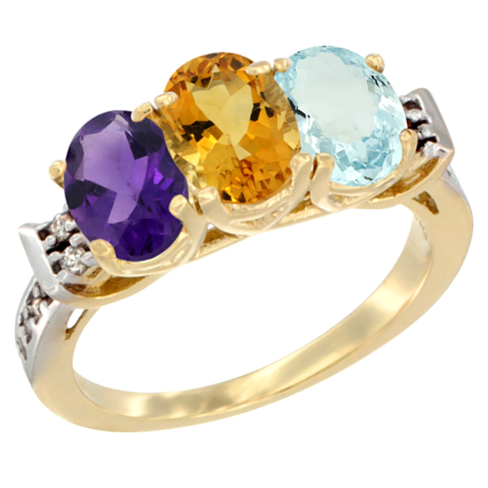 14K Yellow Gold Natural Amethyst, Citrine & Aquamarine Ring 3-Stone 7x5 mm Oval Diamond Accent, sizes 5 - 10